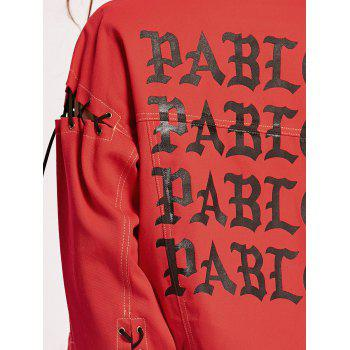 Lace Up Letter Print Jacket - S S
