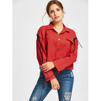 Lace Up Letter Print Jacket - L L