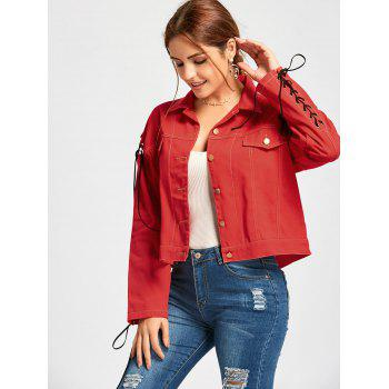 Lace Up Letter Print Jacket - RED L
