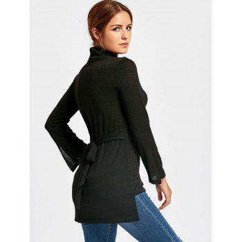 Turtleneck Bell Slit Sleeve High Low Sweater - BLACK M