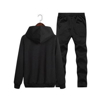 Run Print Pullover Hoodie and Sweatpants Twinset - BLACK XL