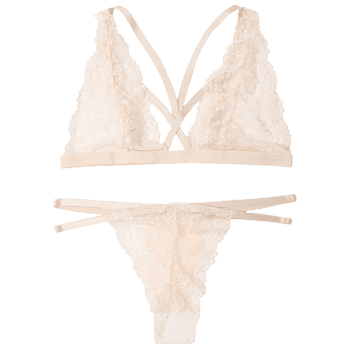 Plunge Lace Strappy Bralette Set - APRICOT S