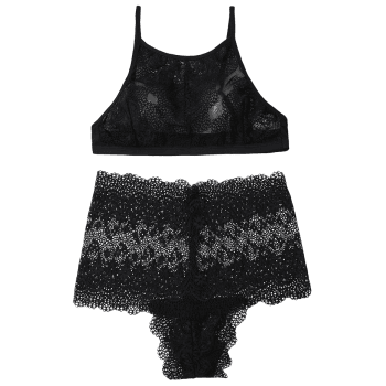 High Neck Lace Bra Set - BLACK S