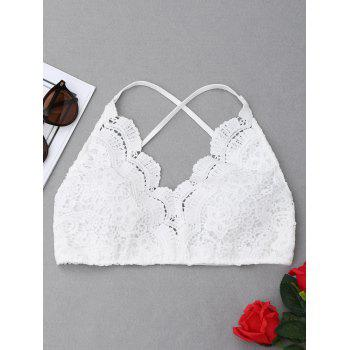 Criss Cross Crochet Lace Bralette Top - WHITE WHITE