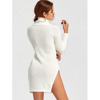 Turtleneck Side Slit Mini Sweater Dress - WHITE M
