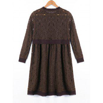 Long Sleeve Crew Neck Lace Dress - DUN DUN