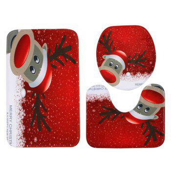 Christmas Deer Pattern 3 Pcs Bathroom Toilet Mat - RED