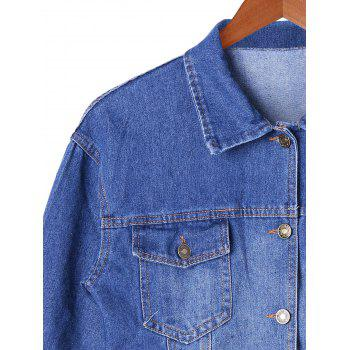 Frayed Hem Denim Short Jacket - M M
