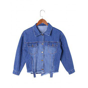 Frayed Hem Denim Short Jacket - DENIM BLUE M