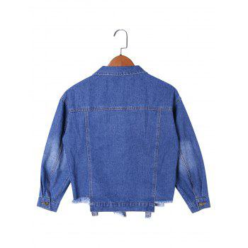 Frayed Hem Denim Short Jacket - DENIM BLUE DENIM BLUE