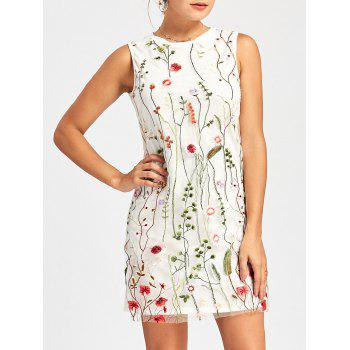Floral Embroidered Mesh Panel Tunic Dress - WHITE S