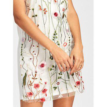 Floral Embroidered Mesh Panel Tunic Dress - M M