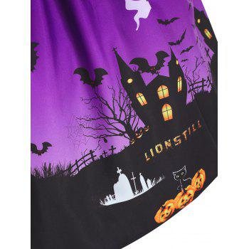 Plus Size Lace Panel Halloween Pumpkin Castle Print Dress - PURPLE XL