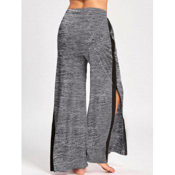 Side Slit Zip Up Wide Leg Pants - GRAY L