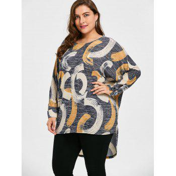 Print Plus Size High Low Top - GRAY 4XL