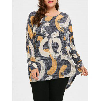 Print Plus Size High Low Top - GRAY 5XL