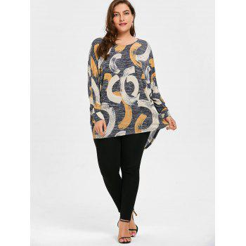Print Plus Size High Low Top - 5XL 5XL