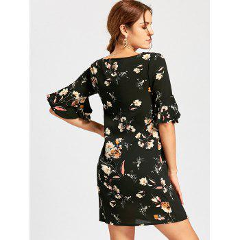 Floral Print Flare Sleeve Mini Dress - BLACK L