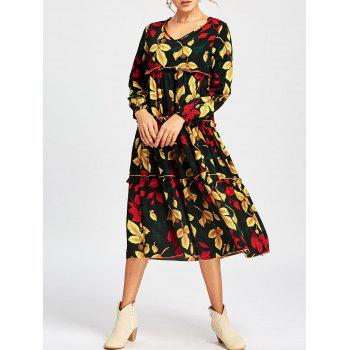 V Neck Leaf Print Midi Dress - COLORMIX COLORMIX