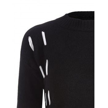 Lace Up Crew Neck Sweater - BLACK ONE SIZE