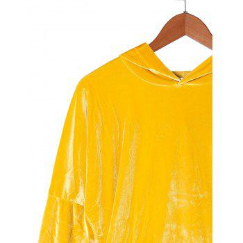 Kangaroo Pocket Velvet Hoodie - GOLDEN YELLOW L