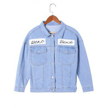 Letter Print Flap Pockets Jean Jacket - LIGHT BLUE LIGHT BLUE