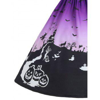 Halloween Mesh Insert Vintage A Line Dress - PURPLE L