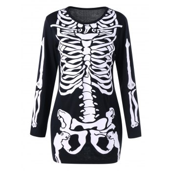Halloween Skeleton Long Sleeve Color Block Dress - BLACK BLACK