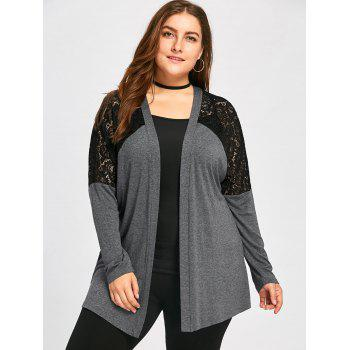 Plus Size Lace Yoke Marled Cardigan - DEEP GRAY DEEP GRAY