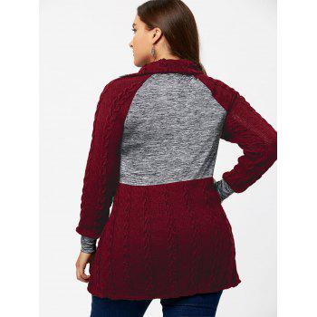Plus Size Cable Knit Sweater with Pockets - WINE RED WINE RED