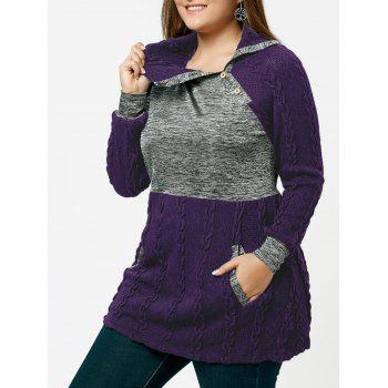 Plus Size Cable Knit Sweater with Pockets - PURPLE PURPLE