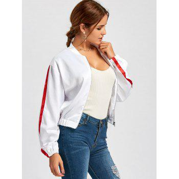 Zipper Fly Striped Bomber Jacket - Blanc M