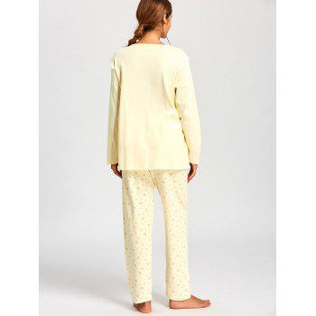 Floral Nursing Cotton Pajamas Set - LIGHT YELLOW LIGHT YELLOW