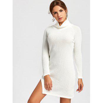 Turtleneck Side Slit Mini Sweater Dress - WHITE WHITE
