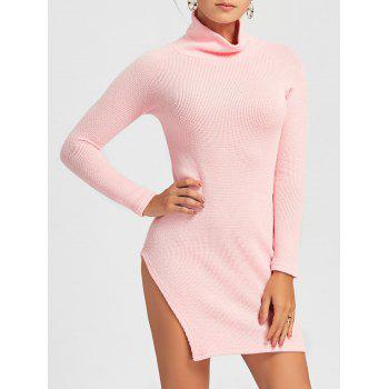 Turtleneck Side Slit Mini Sweater Dress - PINK PINK
