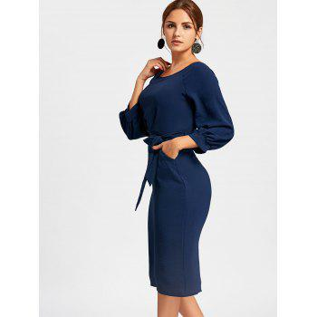 Back Slit Midi Sheath Dress - CERULEAN CERULEAN