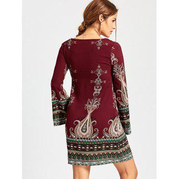 Bohemian Bell Sleeve Graphic Mini Dress - WINE RED WINE RED