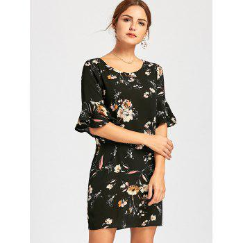 Floral Print Flare Sleeve Mini Dress - BLACK BLACK