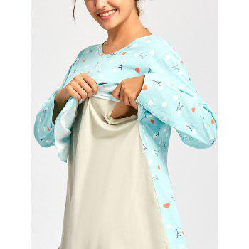 Long Sleeve Nursing PJ Set with Pattern - CLOUDY CLOUDY