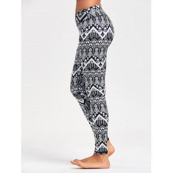 Arrows Printed Yoga Tights - BLACK BLACK