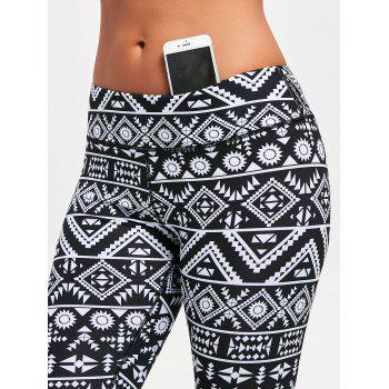 Geometric Pattern Leggings for Running - BLACK BLACK