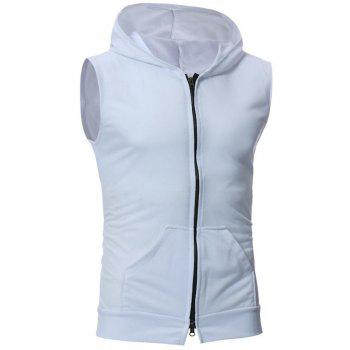 Kangaroo Pocket Zipper Up Hooded Vest - WHITE WHITE
