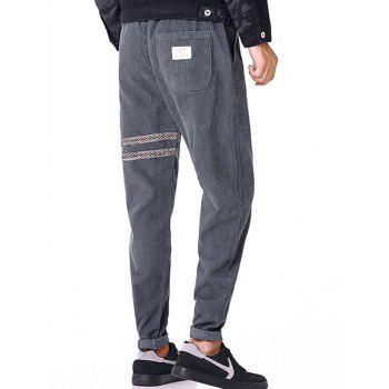 Tribal Stripe Drawstring Waist Corduroy Pants - GRAY GRAY