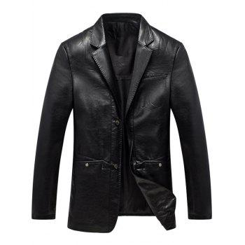 Lapel Single Breasted Faux Leather Blazer - BLACK BLACK