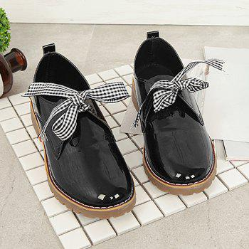 Bowknot PU Leather Flat Shoes - BLACK BLACK