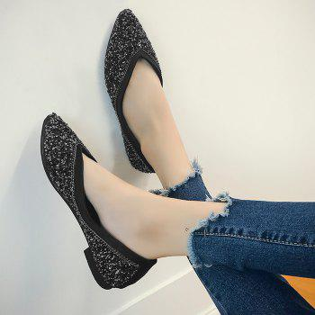 Glitter Slip On Satin Flat Shoes - BLACK BLACK