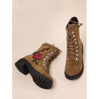 Floral Embroidery Metal Chunky Heel Ankle Boots - BROWN 38
