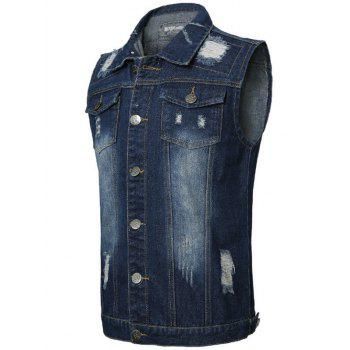 Flap Pocket Distressed Denim Vest - DEEP BLUE DEEP BLUE