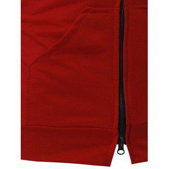 Kangaroo Pocket Zipper Up Hooded Vest - RED RED
