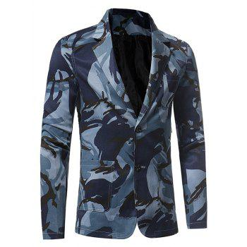 Lapel 3D Camouflage Single Breasted Blazer - BLUE BLUE